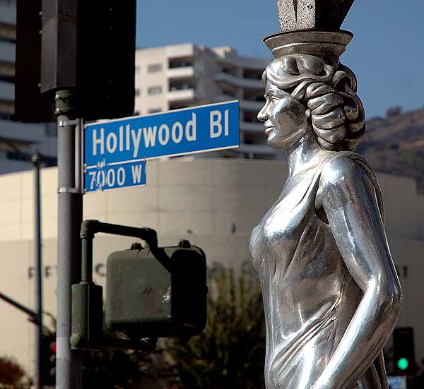 The Hollywood La Brea Gateway, the stainless steel gazebo on the southeast corner of Hollywood and La Brea, sometimes called the Four Ladies Statue, welcomes you to Hollywood.