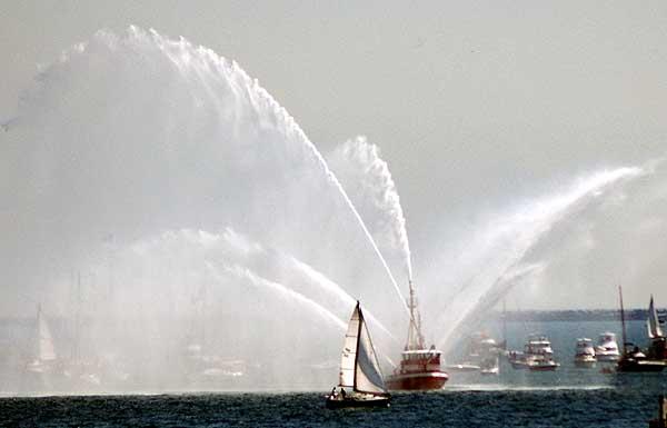 Fire Tug Spraying Water, Long Beach