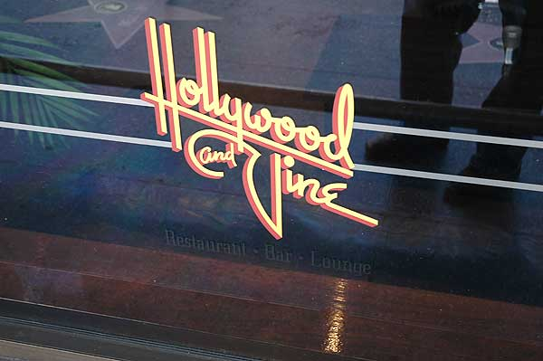 Hollywood and Vine window sign...