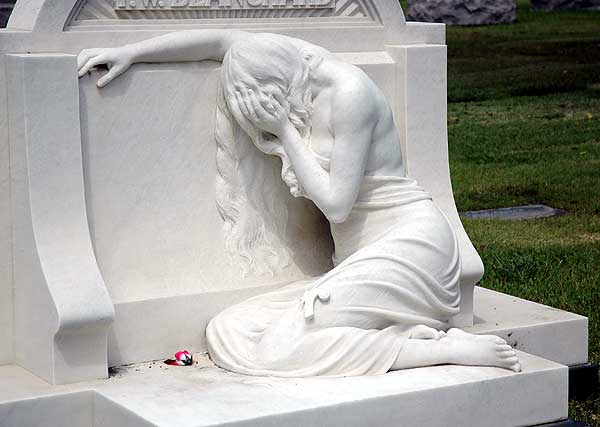 Weeping figure at Hollywood Forever Memorial Park