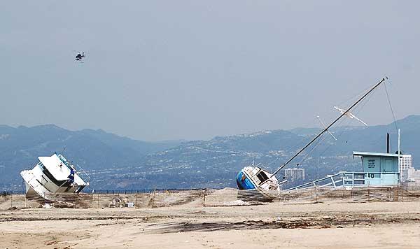 Beach wreckage at Playa del Rey