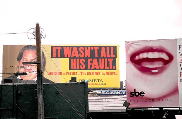 Chris Farley billboard, Sunset Strip, Hollywood