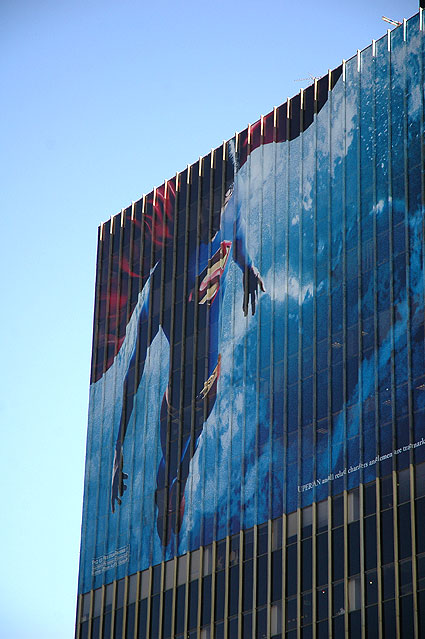 Superman Returns promo on office building wall...