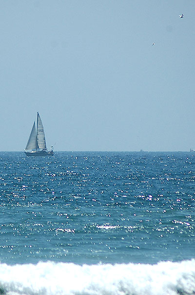 The horizon at Huntington Beach ...