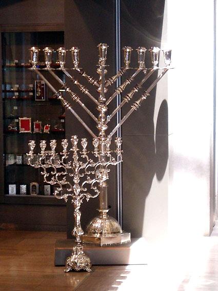 Hanukkah silver candleholder