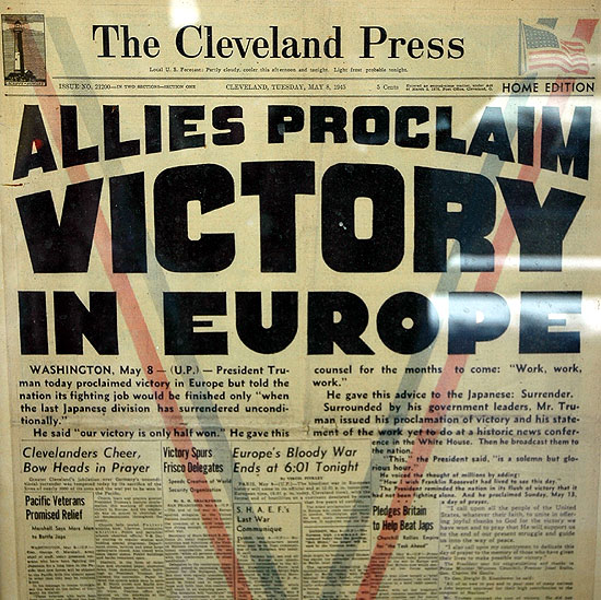 VE day in the Cleveland Press...