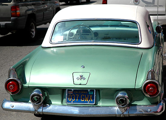 1955 Thunderbird parked on La Cienega Boulevard
