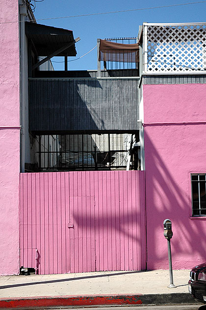 A pink  wall on Oakwood at La Cienega Boulevard
