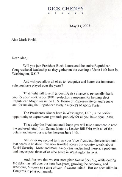 Invitation to Bush Dinner