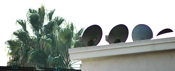 Tiny satellite dishes on the roof in Hollywood