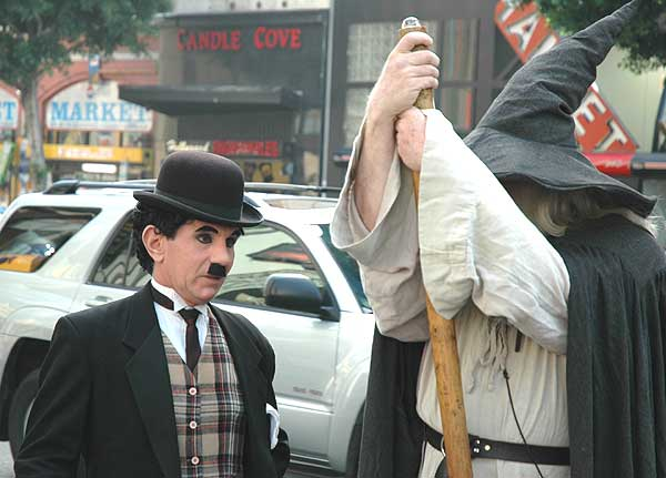 """Charlie Chaplin"" and Gandalf on Hollywood Blvd"