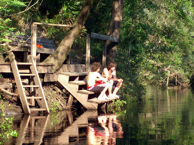 Luke and his late friend on the dock...