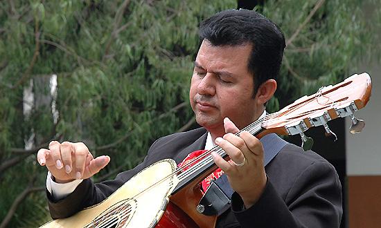 A man and his guitarrón -
