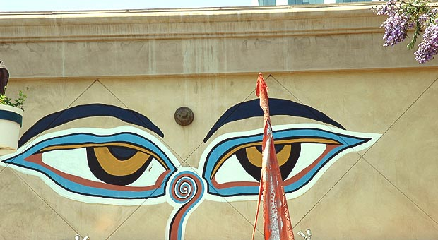 Eyes painted on a wall in Santa Monica...