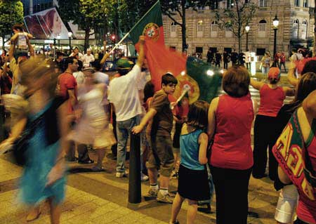And the happy Portuguese in the streets of Paris -