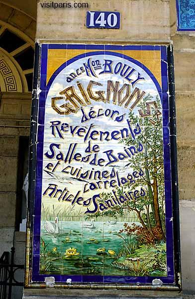 Paris tile sign with swans ...