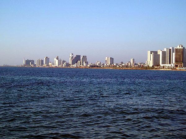 Tel-Aviv shoreline as seen from the port at Jaffa